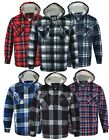Mens Hooded Fur Lined Padded Fleece Shirt Lumberjack Work Jacket Check Sherpa