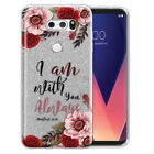 "For LG V30 V30+ Plus 6"" H932 US998 Bible Verses Silver Glitter Clear Cover Case"