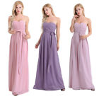 Women's Strapless Pleated Chiffon Bridesmaid Party Dress Evening Dresses Gown