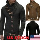 Men Long Sleeve Knitted Sweater Horn Button Sweater Cardigan Turtleneck Coat USA