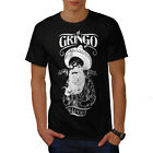Wellcoda Gringo Beard Skull Mens T-shirt, Mexico Graphic Design Printed Tee