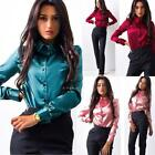 Lady Womens Button Long Sleeve Casual Blouse Ladies OL Work Formal T Shirt Tops