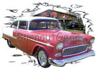 1955 Red Chevy Bel Air Sedan b Custom Hot Rod Garage T-Shirt 55 Muscle Car Tee's