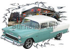 1955 Teal Chevy Chevy 210 Sedan Custom HotRod Garage T-Shirt 55 Muscle Car Tee's