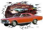1966 Red Chevy Chevelle SS a Custom Hot Rod Diner T-Shirt 66 Muscle Car Tees