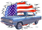1964 Blue Chevy Chevelle Custom Hot Rod USAT T-Shirt 64 Muscle Car Tees