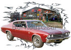 1969 Burgundy Chevy Chevelle SS Custom Hot Rod Garage T-Shirt 69 Muscle Car Tees