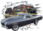 1970 Black Chevy El Camino Custom Hot Rod Garage T-Shirt 70 Muscle Car Tees