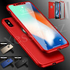 Hybrid 360° Shockproof Slim Case Cover Tempered Glass For Apple iPhone X 10
