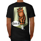 Wellcoda Cat Terrified Mouse Funny Mens T-shirt, 0 Graphic Design on the Back