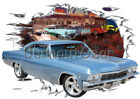 1965 Blue Chevy Impala Custom Hot Rod Diner T-Shirt 65 Muscle Car Tees