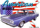 1965 Blue Dodge Coronet Custom Hot Rod USA T-Shirt 65 Muscle Car Tees