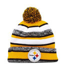 New Era NFL Pittsburgh Steelers 2015 Black Yellow Beanie Stripped Lined Pom Hat