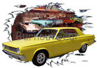1965 Yellow Dodge Dart Custom Hot Rod Diner T-Shirt 65 Muscle Car Tees $46.99 USD on eBay
