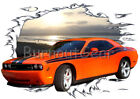 2008 Orange Challenger Custom Hot Rod Sun Set T-Shirt 08 Muscle Car Tees