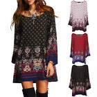 Women Lady Ethnic Floral Boho Hippie Long Sleeve Loose Blouse Beach Dress Skirt