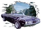 1968 Black Oldsmobile 442 Convertible Hot Rod Mountain T-Shirt 68 Muscle Car T