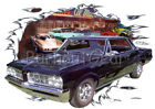 1964 Black Pontiac GTO Custom Hot Rod Diner T-Shirt 64 Muscle Car Tees