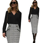 Womens Vintage High Waist Check Print Work Office Party Casual Midi Pencil Skirt