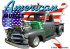1954 Black Blown Chevy Pickup Truck Hot Rod USA T-Shirt 54,55 Muscle Car Tees