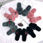 Winter Women Fashion Floral Warm Slippers Faux Fur Anti-slip Indoor Home Shoes