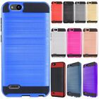 For ZTE Avid 4 Brushed Brushed Metal HYBRID Rubber Case Cover +Screen Protector
