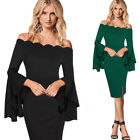 Women Ruffle Bell Sleeve Scalloped Sexy Off Shoulder Cocktail Party Sheath Dress