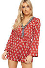Womens Floral Paisley Print Plunge V-Neck Long Sleeve Playsuit Ladies Shorts Top
