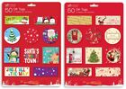 50 Christmas Gift Tags Cards Tie On Labels Assorted Designs Red Metallic Thread