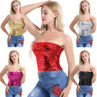 Women Sequins Stretch Tank Crop Top Strapless Stretch Tube Top Vest Blouse Shirt