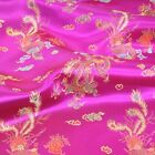 Brocade Chinese Dragon Fabric Embroidered Silky Satin Oriental 90cm Wide