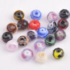 10pcs 10x8mm Faceted Glass Charms Stripe Rondelle Lampwork Spacer Beads