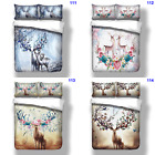 Animal Duvet/Doona/Quilt Cover Set Single/Queen/King Size Floral Deer Pillowcase