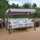 Turin 3 Seater Garden Reclining Swing Seat  Charcoal Frame with Classic Cushions