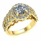 Genuine 2ct Round Diamond Bridal Halo Solitaire Bridal Engagement Ring 18k Gold