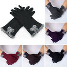 Womens Bow Fleece Thermal Lined Touch Screen Full Finger Gloves Winter Warm EW