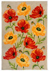 """AREA RUGS - """"POPPY FIELD"""" INDOOR OUTDOOR RUG - 3 SIZES - FLORAL RUG"""