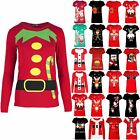 Womens Ladie Xmas Tee Elf Candy Stick Belt Button Costume Christmas Top T Shirt