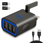 New Fast 3.1A 3 Port Wall Battery Charger Adapter 3Pin AC Plug Cable For Phone