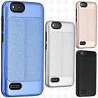 For ZTE Avid 4 Leather Texture Hybrid Rubber Silicone Case Cover +Screen Guard