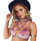 Ladies Fashion Sexy Lace Up Velvet Push Up Bra Padded Bra Deep V-Neck Crop Tops
