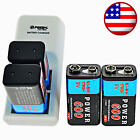 600mAh 9V 6F22 Rechargeable Ni-MH Batteries with 2 Slots 9-Volt Battery Charger