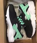 Nike Youth Huarache Run GS Black Green Glow 654280-008 4 Y Grade School