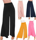 Womens High Waist Pleated Wide Flared Leg Trousers New Ladies Palazzo Pants