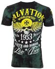 ARCHAIC by AFFLICTION T-Shirt BLACK TIDE Skull Tattoo Motorcycle Biker $40 c image