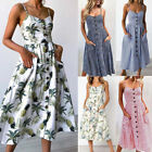 Womens Holiday Strappy Button Pocket Ladies Summer Beach Midi Swing Sun Dress