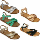 Ladies Flat Sandals Womens Open Toe Shoes Leather Look Buckle Fashion Summer New