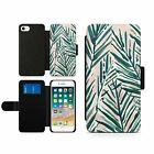 Palm Tree Branches Portrait Magnetic Wallet Card Flip Faux Leather Phone Case