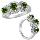 1.25 Carat Green Diamond Fancy 3 Stone Halo Promise Wedding Ring 14K White Gold