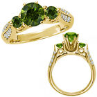 1.75 Carat Green Diamond Three Stone Wedding Promise Bridal Ring 14K Yellow Gold